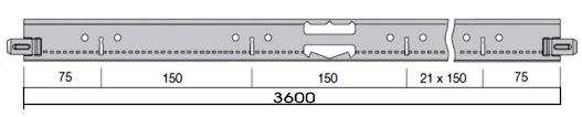 Armstrong Teysa/Prelude 24NT főtartó álmennyezeti sin 24 mm talpszélességű részlet