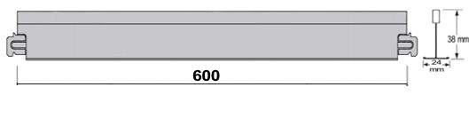 Álmennyezeti sin 24 mm talpszélességű rövid kereszttartó; MCI részlet
