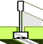 T15 bordavázhoz illeszkedő látszóbordás sülyesztett élkiképzésü álmennyezeti lapok ikonja