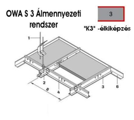 Owa S3 álmennyezeti rendszer elemei