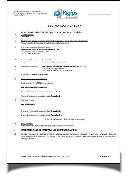Rigips Casoprano álmennyezeti lapok biztonsági adatlapja