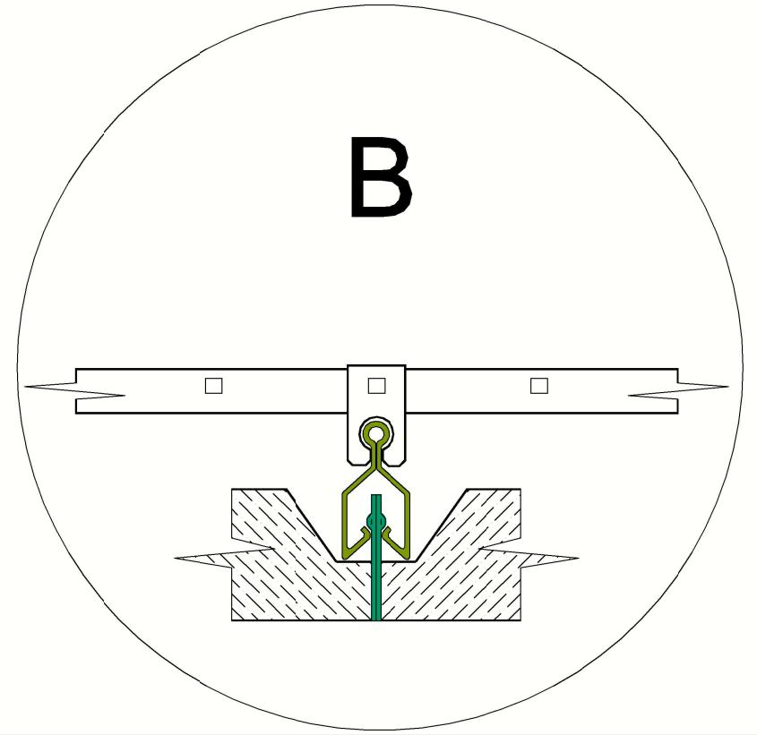 Clipin álmennyezeti rendszer mező csomópontja