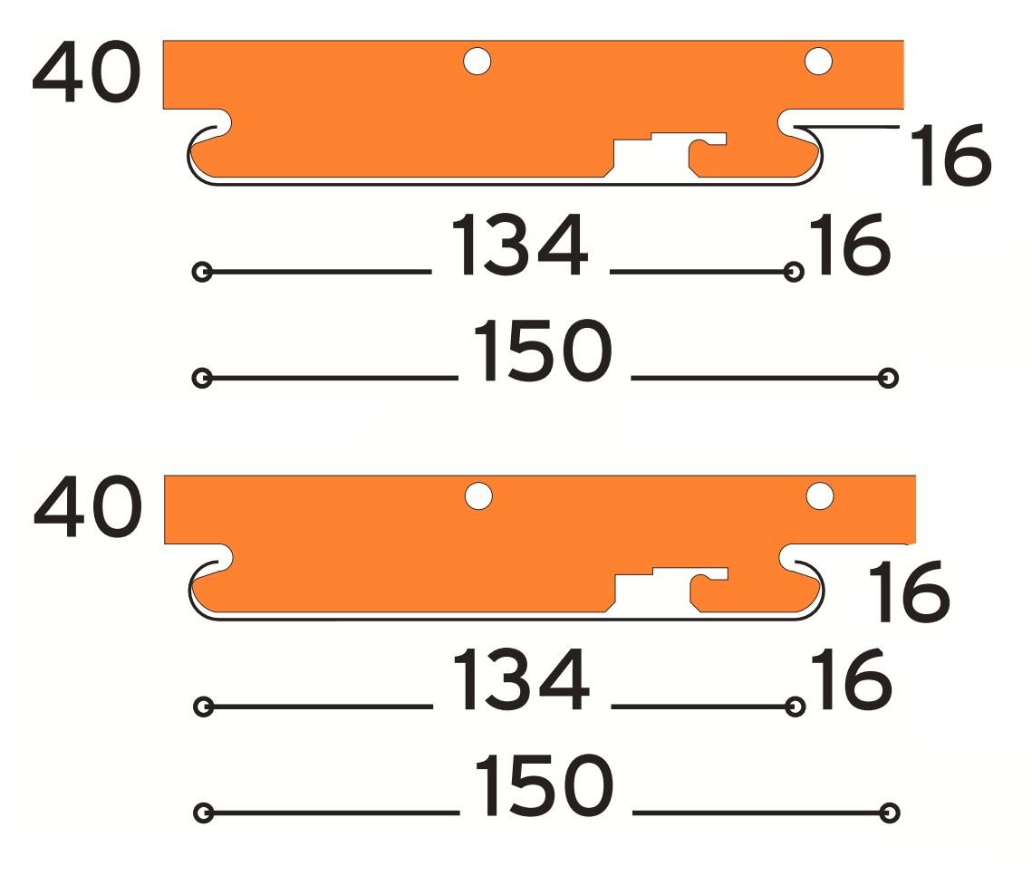 sávos álmennyezeti főtartóhoz választható modulok 150 mm