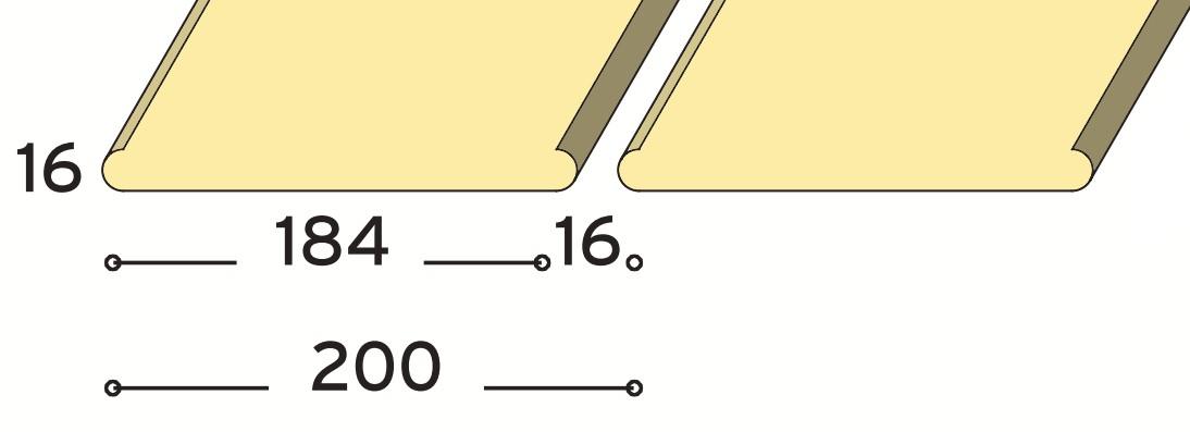 Sávos álmennyezet kerek éllel 200 mm modul méret