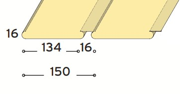 Fém sávos lekerekített élű álmennyezeti lap zárt 150 mm modul