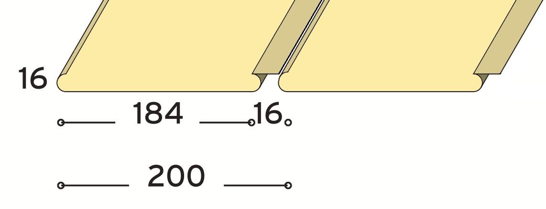 Fém sávos lekerekített élű álmennyezeti lap zárt 200 mm modul